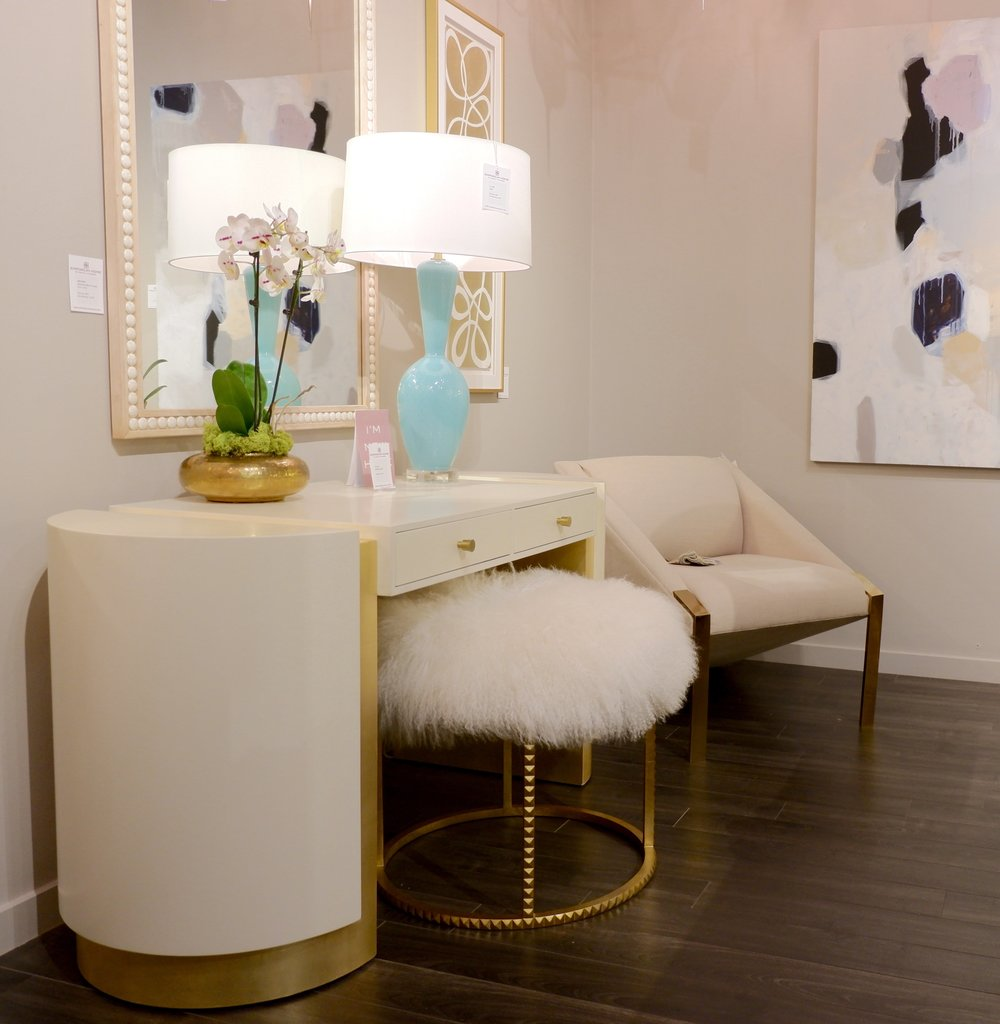 A vanity stool is the perfect spot to indulge in a some cushy Mongolian Lamb upholstery, at Emporium Home.