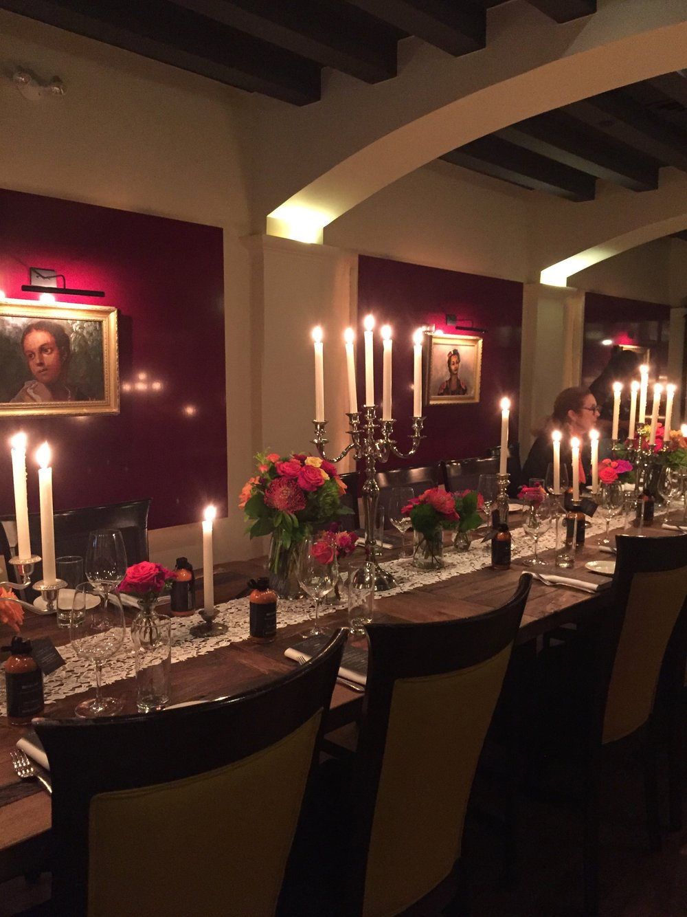 Light candles just before guests enter the dining room to create a warm welcoming effect.