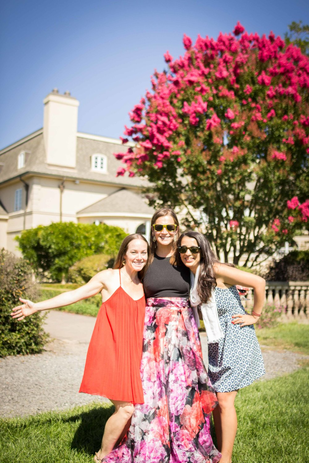 Beautiful ladies on a beautiful vineyard