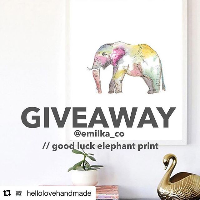 "🎉G I V E A W A Y 🎉  We have teamed up with @hellolovehandmade give away one of my ""Good Luck Elephant"" prints (example shown here) to a lucky one of YOU! ••• How to enter? 1 - MUST Follow @hellolovehandmade & @emilka_co  2 - Tag a friend(s) below to tell them about this great giveaway! Each tag is an additional entry! 3 - Giveaway ends at midnight CST + winner will be announced on this post tomorrow 😊 Giveaway open To U.S. Entrants only. ••• Can't wait? Use #PROMO: ""LUCKY20"" for 20% OFF for 3 days! ••• #handmade #goodluck #luckyday #handmadewithlove #giveaway #discount #handmadeshop #goodluck #elephant #homedecor #artprint #lovelysquares #makersgunnamake #pinhome"