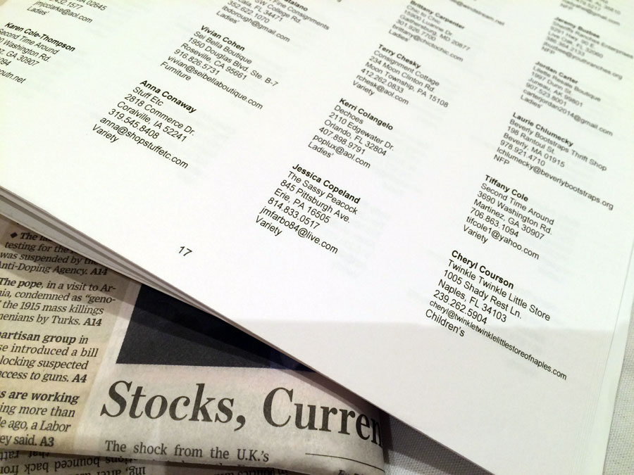 Stocks, Current. A familiar listing and the Wall Street Journal.