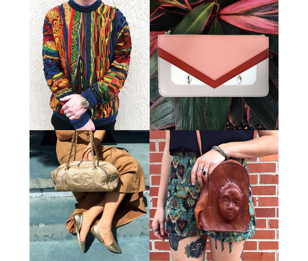 Highlights from our IG: 1. Hands down, the best vintage 90's Coogi sweater I have even seen. 2. Fendi Monster color block zip pouch with hypnotic diamonds in her eyes. 3. Metallic gold-toned Chanel handbag with matching d'Orsay flats. 4. Vintage whiskey-colored crossbody bag with bas-relief portrait. This was a remnant from the seller's traveling days while touring South America. I've never seen a bag quite like this and will never forget this one.