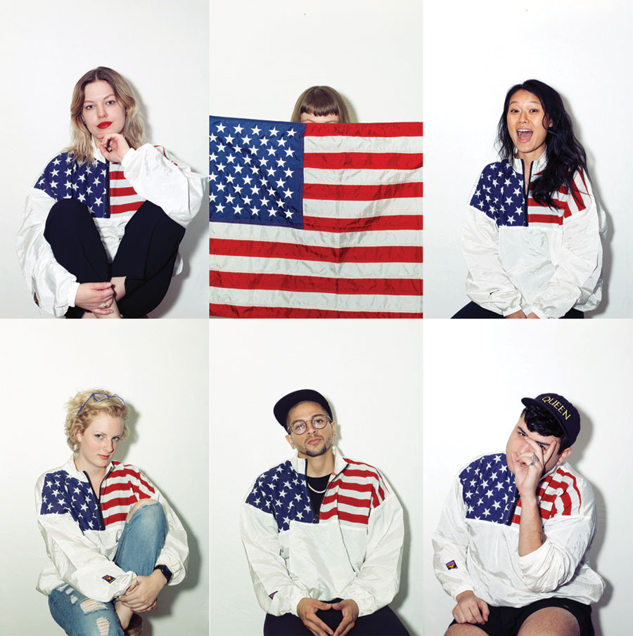 Team Dechoes of USA. Kandace, Amanda, Flower, Caralyn, Mikey, Tony. Vintage Stars and Strips Windbreaker.