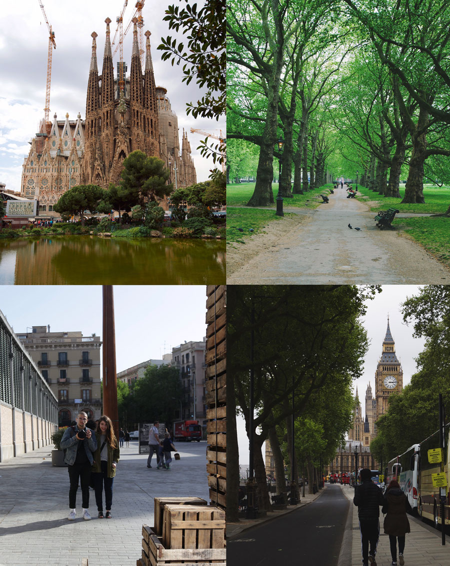 1.  Barcelona  La Sagrada Familia Gaudi from across the pond.  2.  London  Park across from Buckingham Palace 3.  Barcelona  Born selfie with Irene in front of El Born Centre de Cultura in Memoria 4.  London  Street view along the Thames facing Parliament.