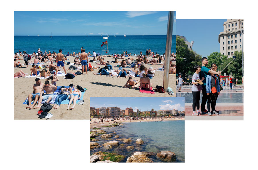 "1.  Barceloneta  Crowds soaking up the sun.  2.  Barcelona  Center of Barcelona / Placa de Catalunya. When I asked of the Asian tourists with the selfie stick, Mikey laughed and commented, ""They did so many angles."" 3.  Barcelona  On the Mediterranean, a semi-nude beach."