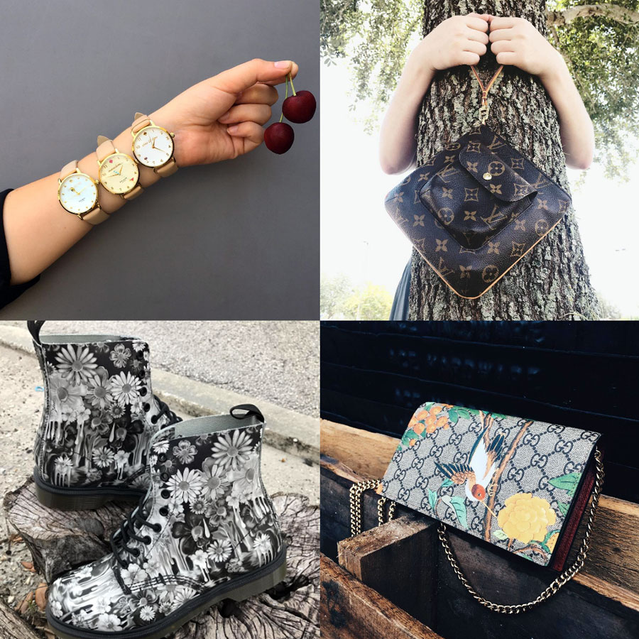 We have all kinds of objects that speak to your inner desire to be in nature this summer.  1. Assorted gold-tone Kate Spade watches and ripe cherries. 2. Partition wristlet from Louis Vuitton with Dechoes tree-hugger :)  3. Dr. Martens Pascal 8-Eye Slime Floral boots on the stump. 4. Gucci Tian Crossbody wallet-on-chain with beautiful hummingbird overlay print.