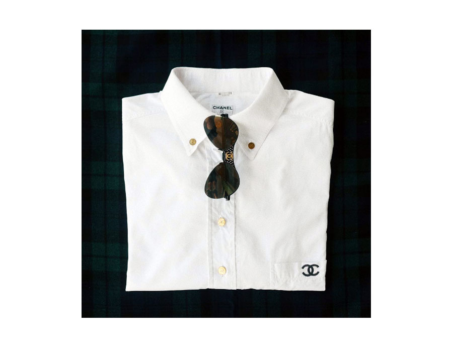 Classic 100% cotton button-down with CC embroidered pocket, Sunnies with perforated metal accent.