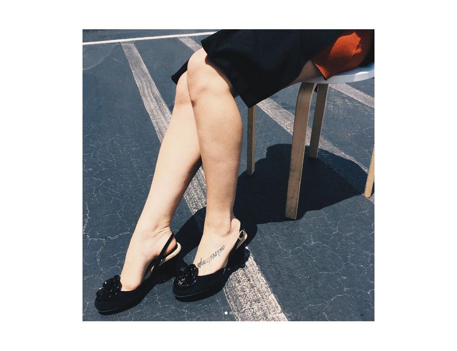 Camellia slingback heels.