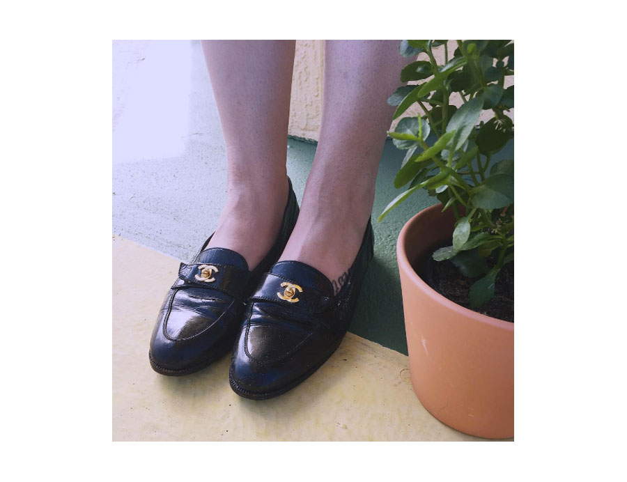Vintage patent leather loafer with CC hardware.