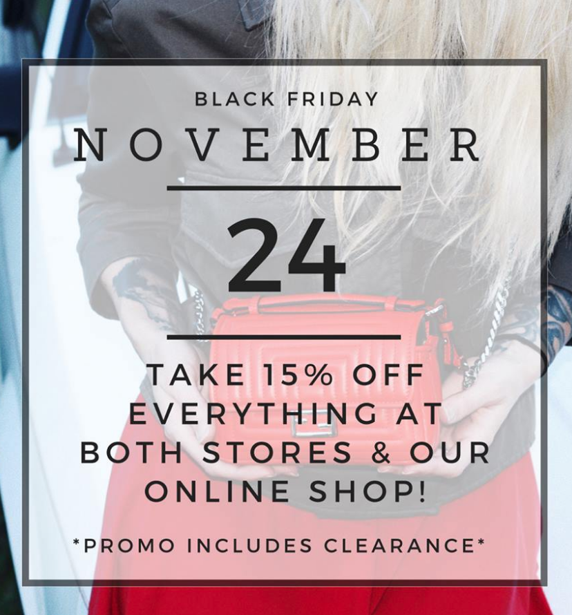 The sale that everyone asks about.  Take 15% off it all. No cap. All of it. Happy hunting! Happy Black Friday :)