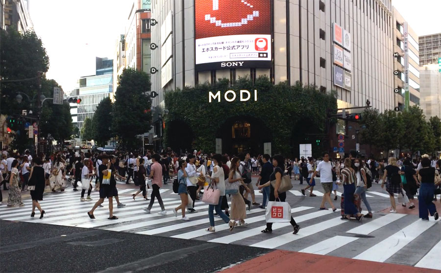Crosswalk Congestion . Any time during the day, the crush of shoppers in front of  Shibuya Modi .