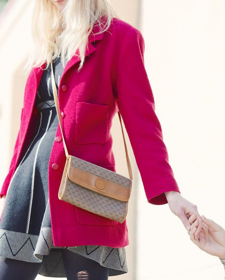 May I kiss your hands?  Wool-blend coat, vintage  Chanel . Monogrammed crossbody, vintage  Gucci.