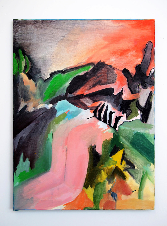 Figure in Hellish Landscape