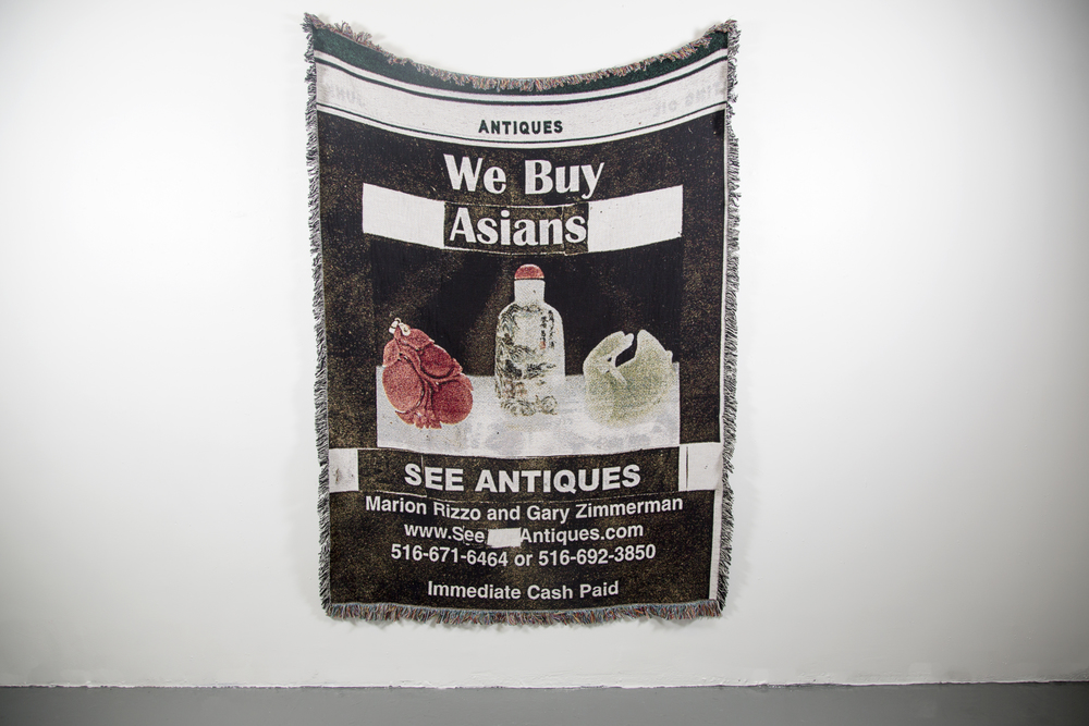 We Buy Asians,  2015, Custom-made Tapestry, 50 in x 70 in