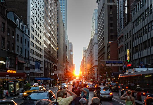 Manhattenhenge - When: July 12 at 8:20 PM & July 13 at 8:21 PMWhere:Best viewing is on 14th, 23rd, 34th, & 42nd StreetsPhoto: Timeout NYC
