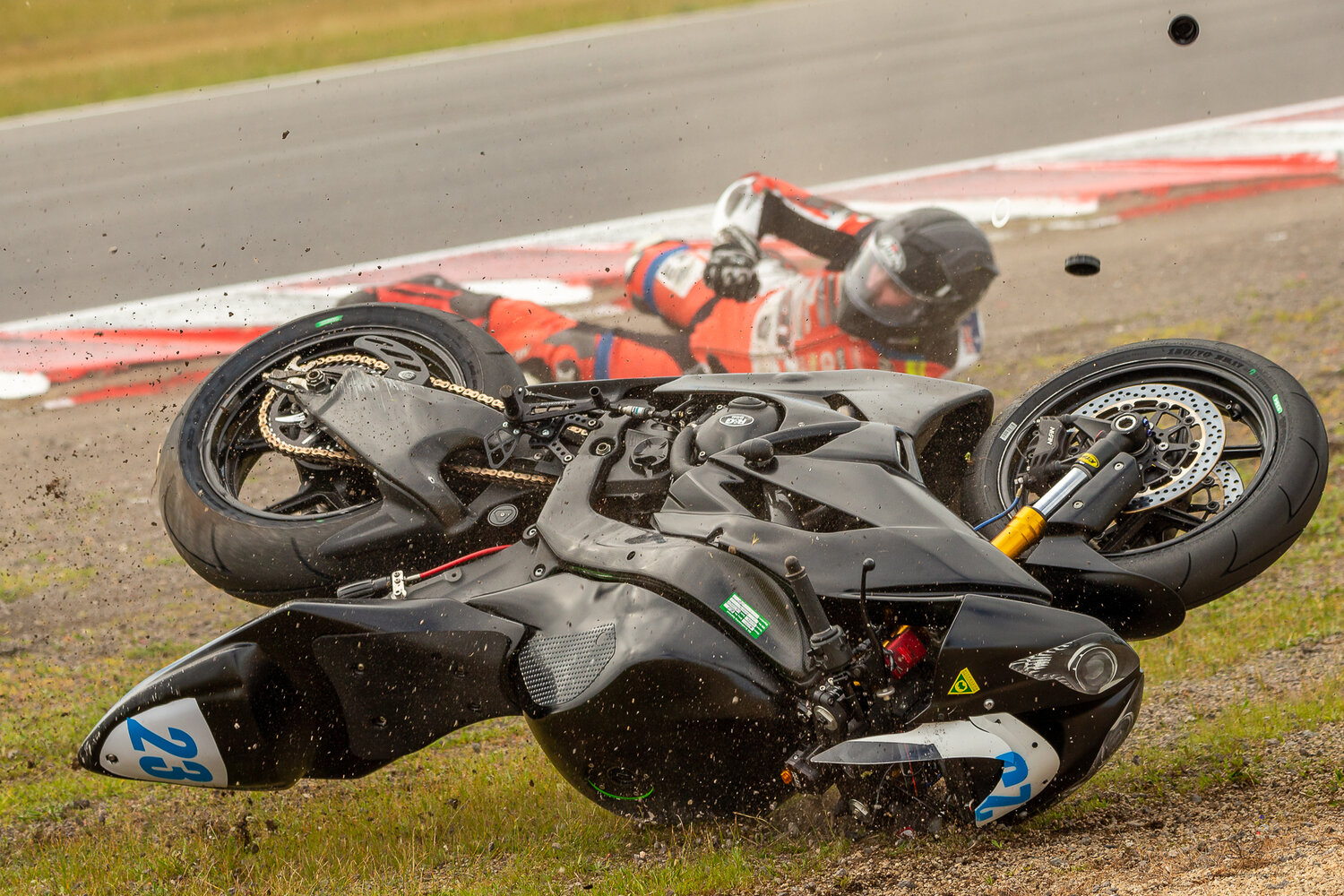 Ryan Sellen 23 riding for Kawasaki BCperformance crashes on T11 during round 5 of the Australian Superbike Championship on September 8, 2019 at Winton Motor Raceway, Victoria. (Image Dave Hewison/ Speed Media)