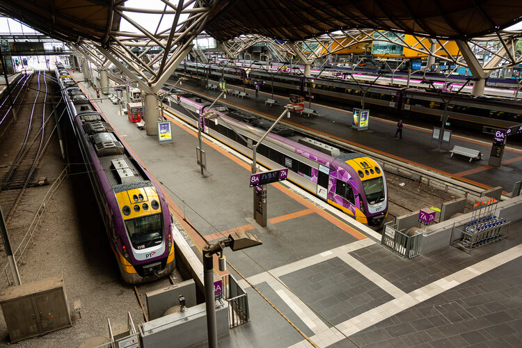 Southern Cross Station is largely empty due to COVID 19 on 12 April, 2020 in Melbourne, Australia. (Photo by Speed Media/Icon Sportswire)