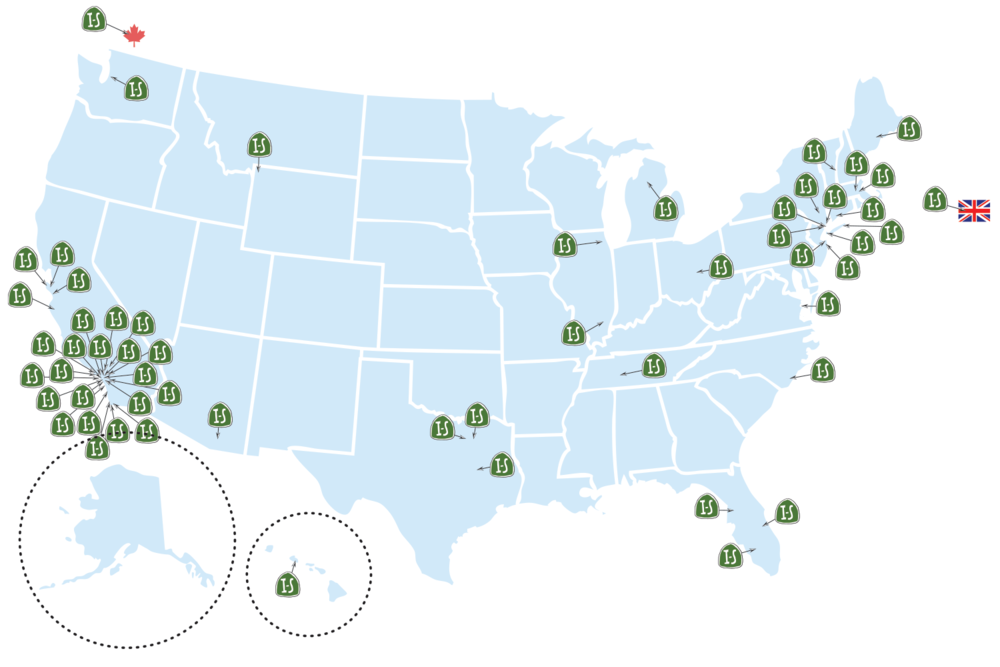 Map of Recent Instant Space Projects