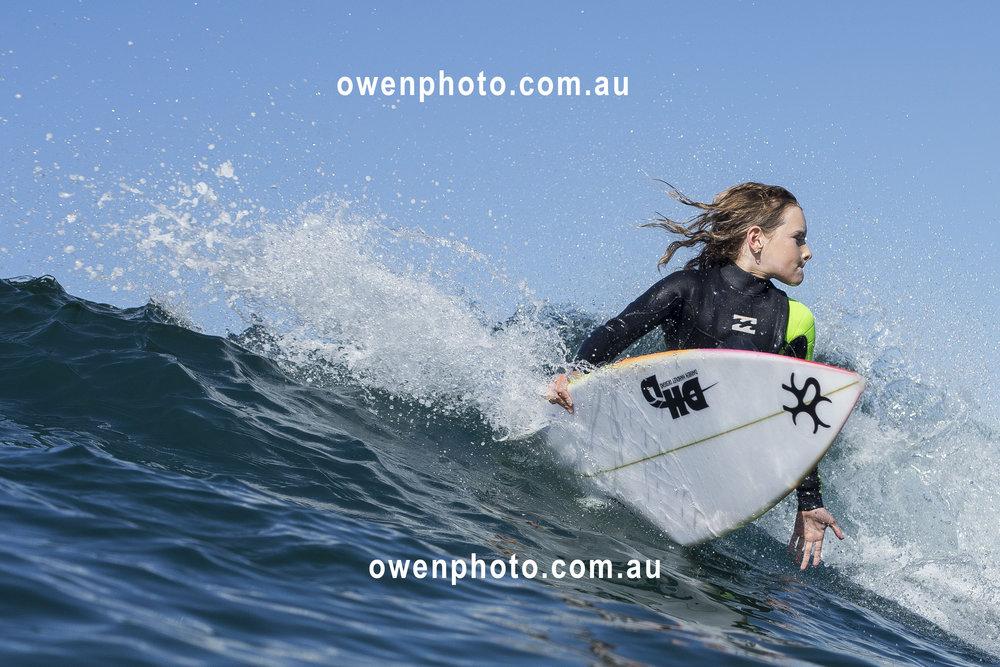 Sabre Norris surfing, Ellen, - newcastle nsw - @owenphoto