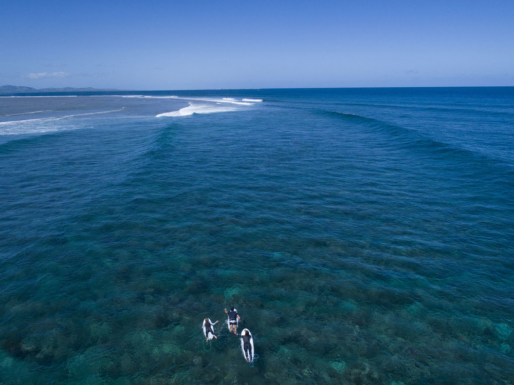 Pete Evans and family surfing fiji