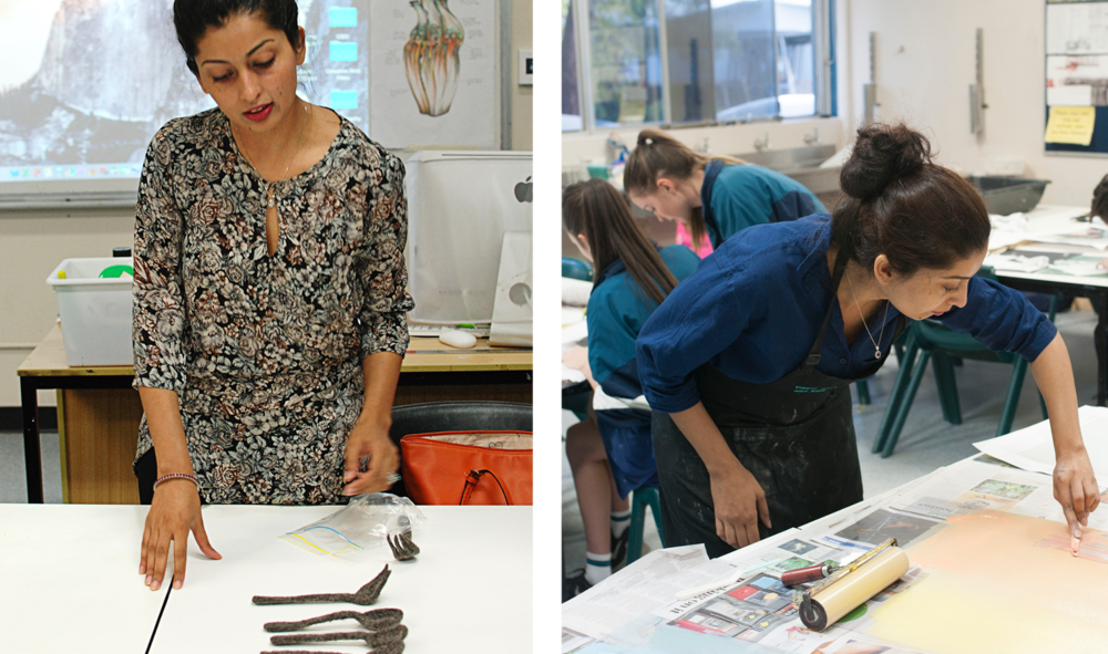 Mehwish Iqbal explaining her practice to student at Caroline Chisholm College                          Mehwish Iqbal demonstrating inking techniques for students at an Access Artists workshop.
