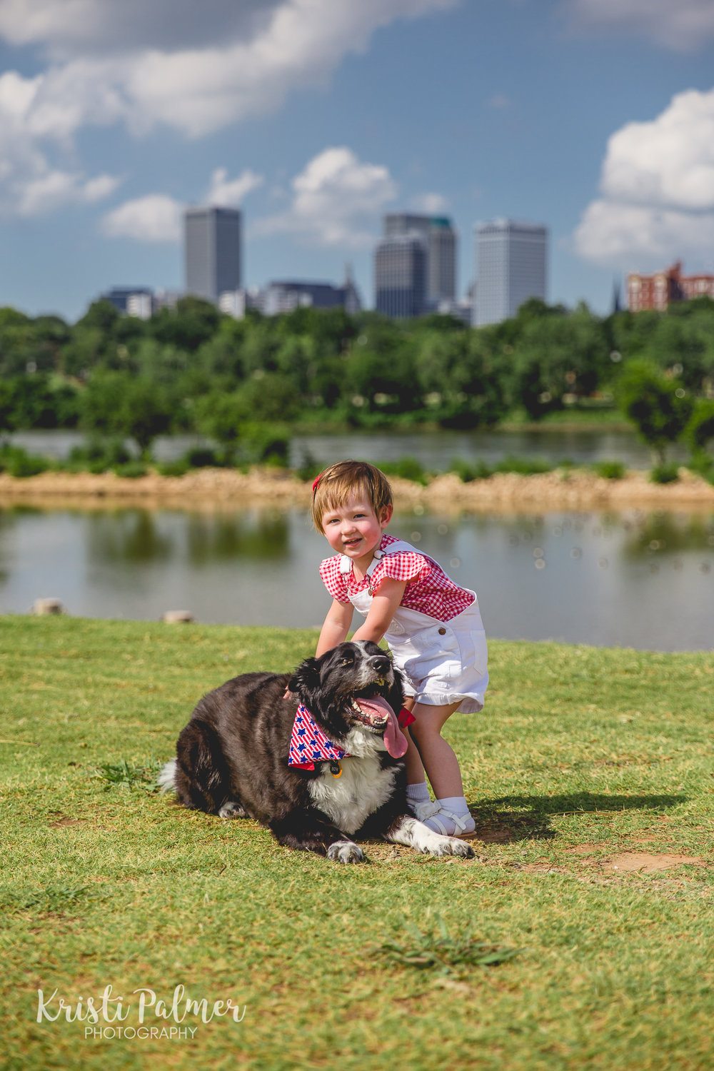 tulsa skyline childrens portrait with dog