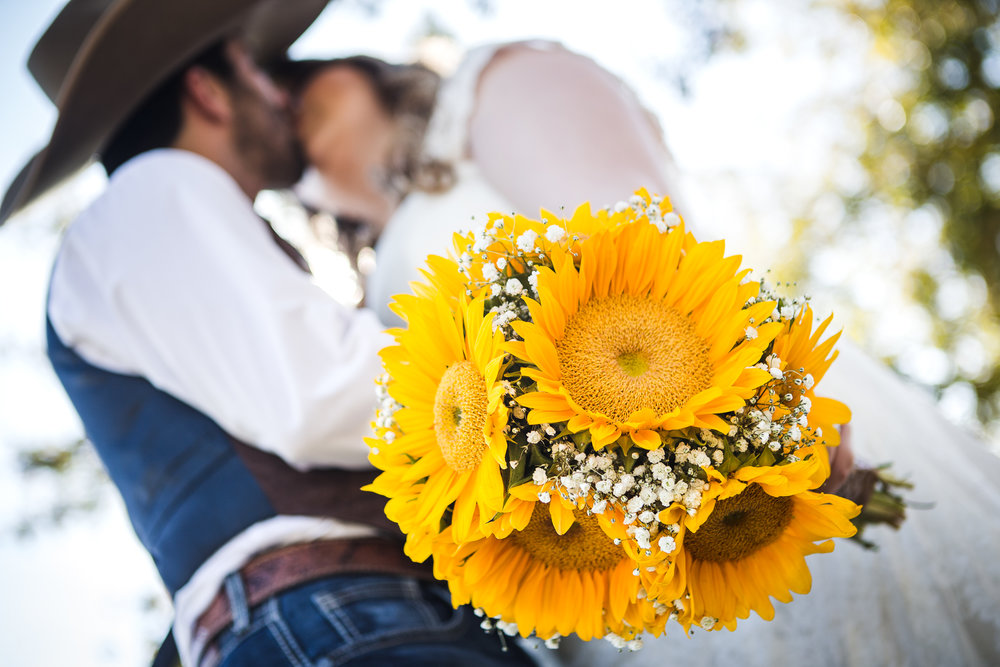 bridal wedding bouquet sunflowers