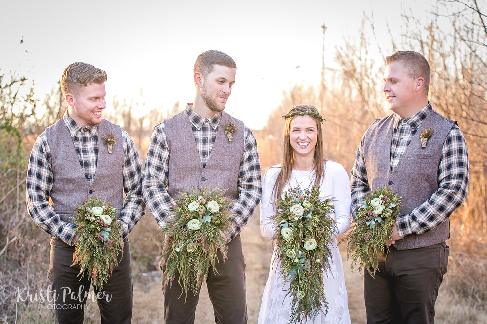 bride with groomsmen funny wedding portrait
