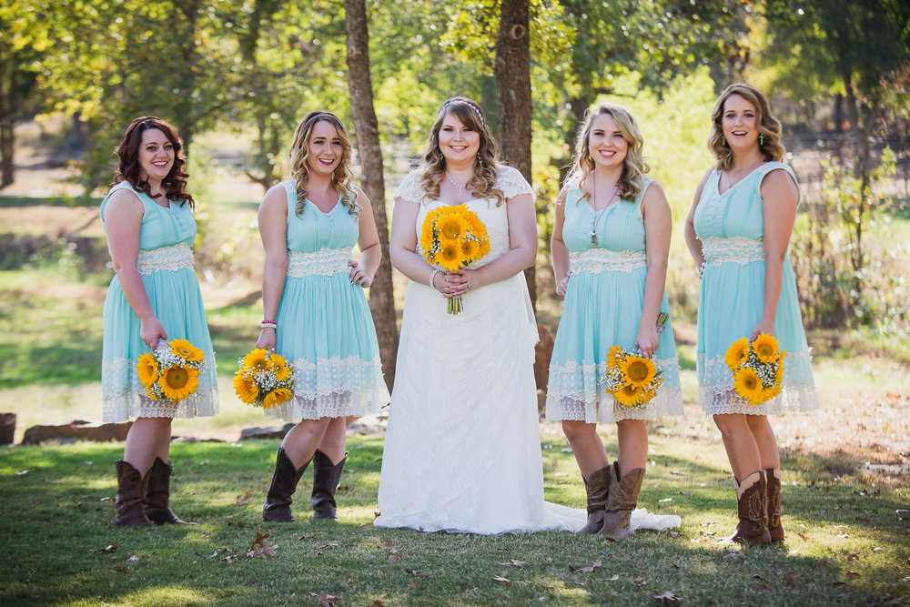 bride and bridesmaids portrait sunflowers