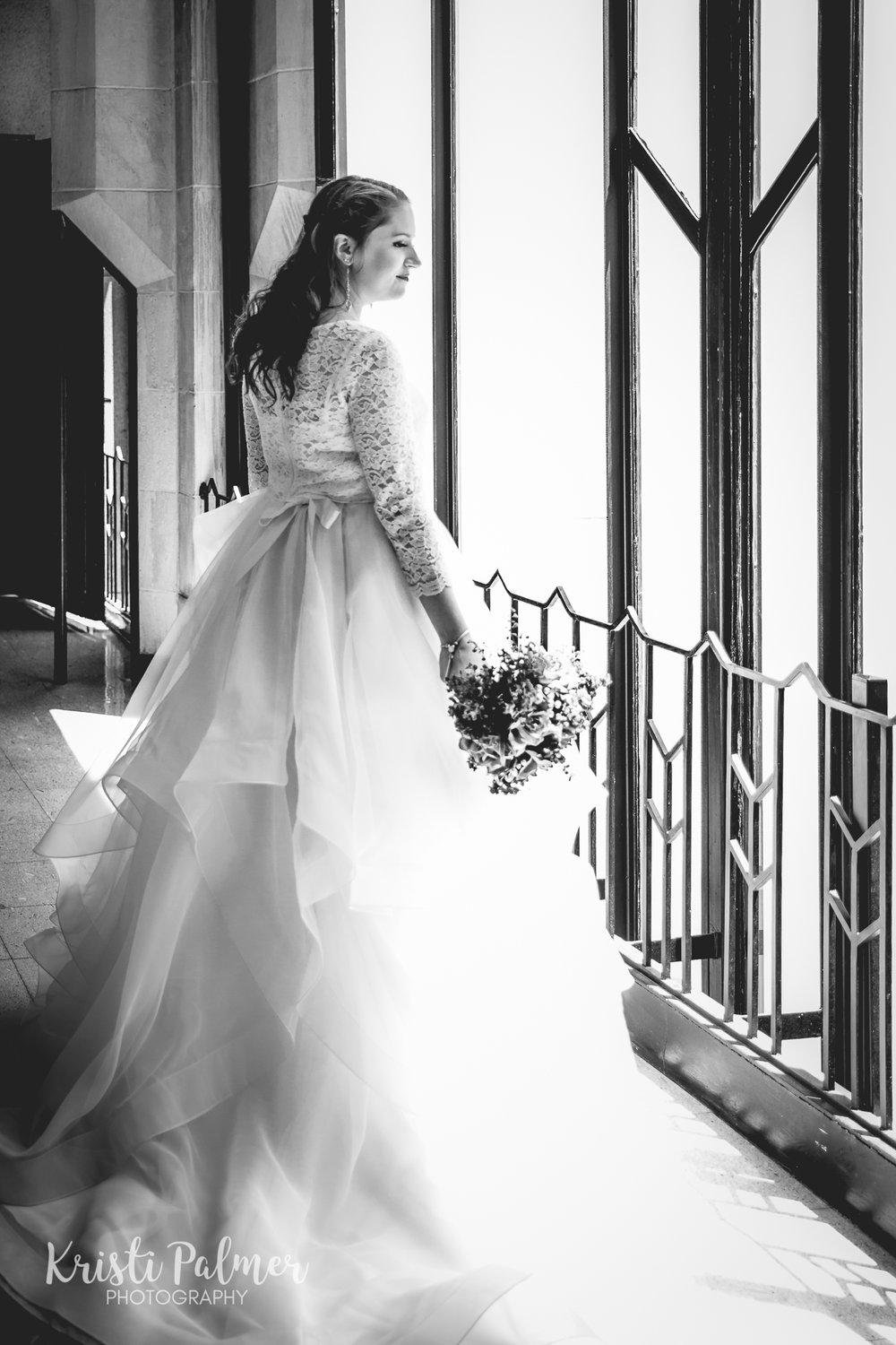 bride portrait window