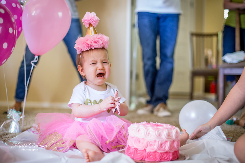 first birthday smash cake baby crying