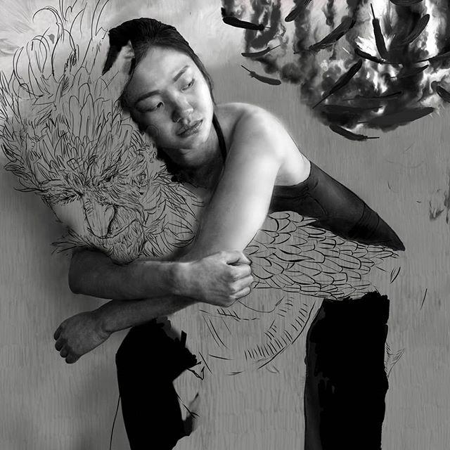 Sketch lines of my featherd creature.  #zoominzoomout  #digitaldrawing  #digitalpainting #wacom #wacomtablets #wacomtablet #texturebrushes #sketch #Digitalsketch #blackandwhite #realism  #realisticpaintings #portrait #girl #realisticportrait  #clipstudiopaint #mangastudio