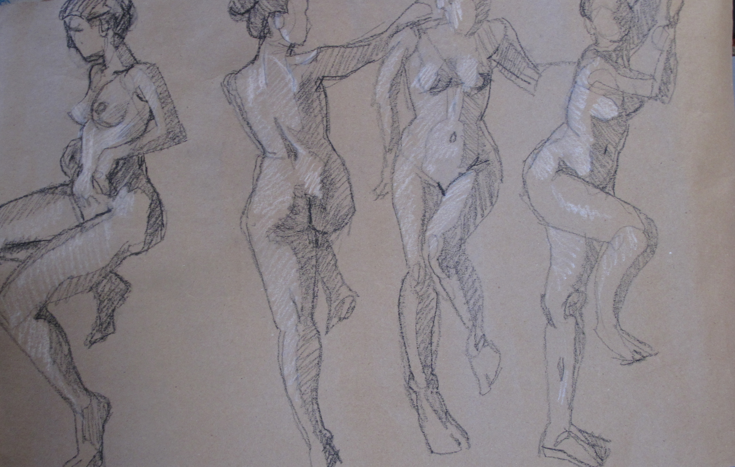 These ladder poses were so much fun, but one wouldn't know how they were managed unless they were told!  Drawings by Charles Cramer