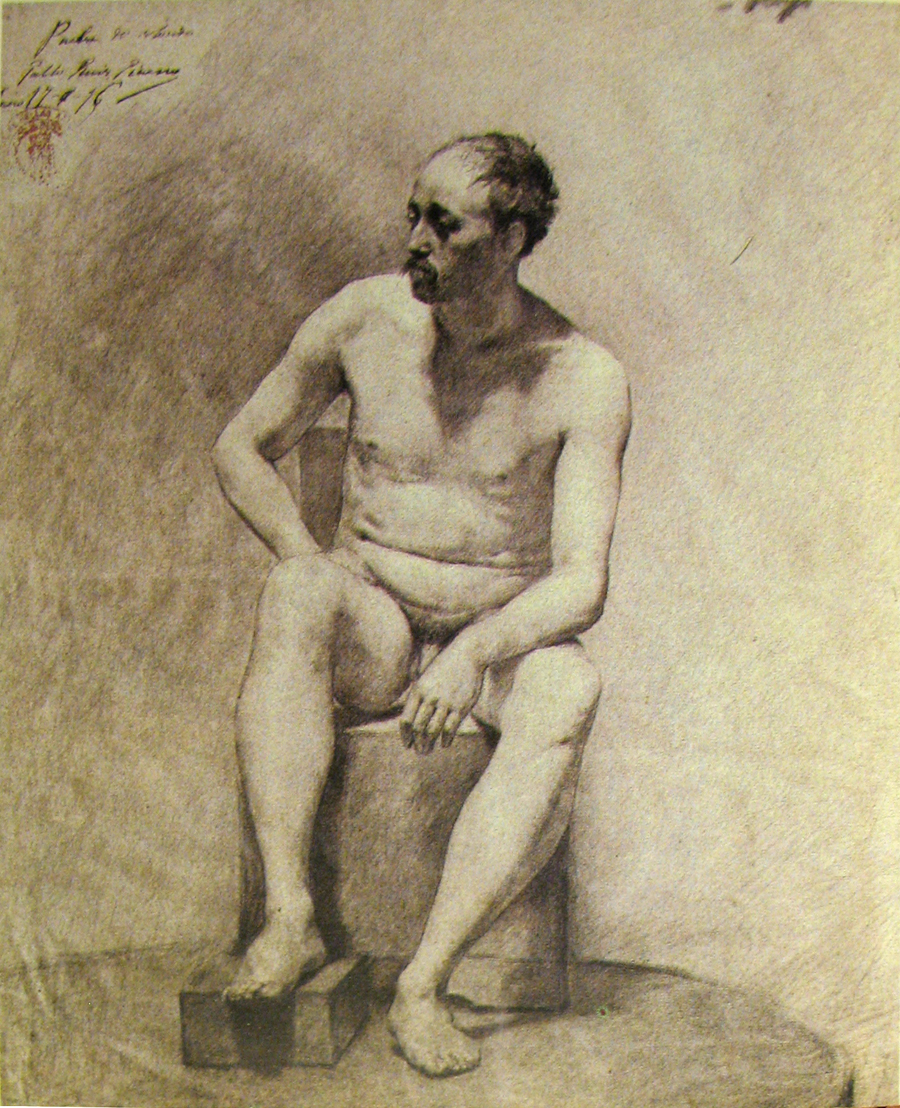 Picasso was classically trained in Madrid. Study, 1896.