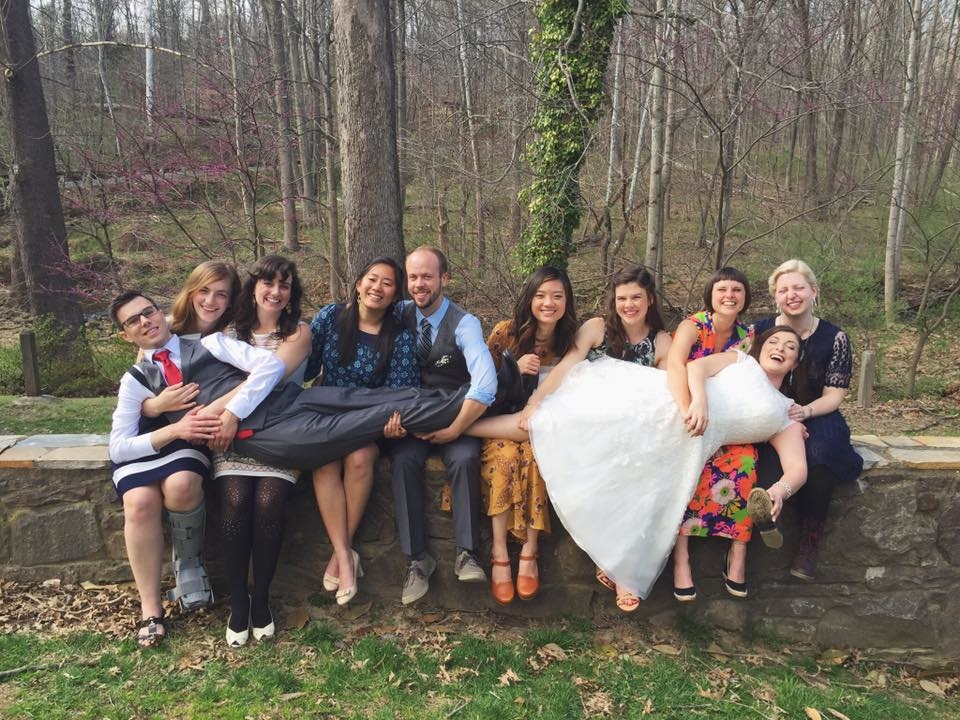 We may not be GREAT at holding newlyweds on our laps, but we're hoping that wont come up...