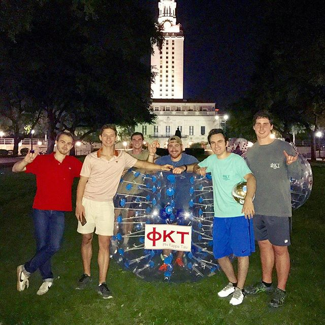 Come play Bubble Soccer with some of the brothers in front of the Tower 10PM to midnight every Tuesday while orientation is in session! #UT21 #phitau #utorientation #utaustin