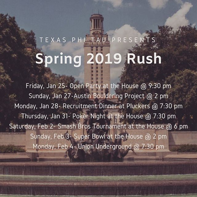 Phi Kappa Tau is excited to announce our rush schedule for this semester. If you have any questions, feel free to DM for details. We'd love to see y'all around🤘