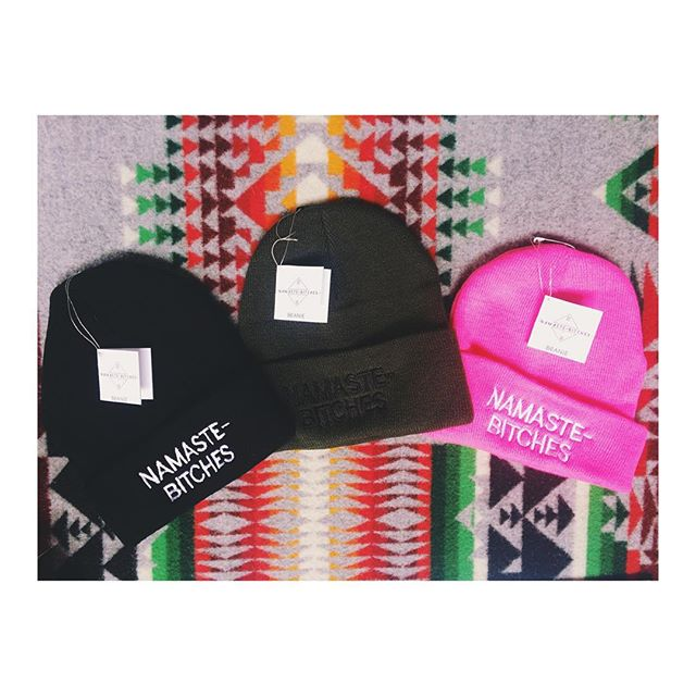 3 colors available for the namaste-bitches beanie!! I'll be here till 5 🔺💖🔺