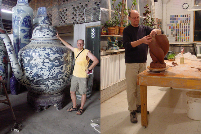 Gary with giant teapot in Jingdezhen, China and in Minneapolis studio.