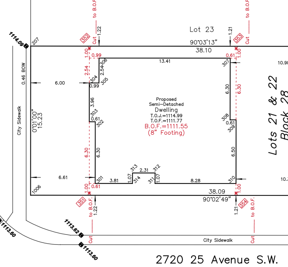 The notes in red are the cut lines that are transposed over the basement shape. The bullseye points are where stakes will be hammered in the ground. The stakes are offset from the hole so that when working, the machine does not destroy the markers. The excavator will make the hole larger then the actual shape of the basement because the cribbers need to walk around the perimeter to set their forms.