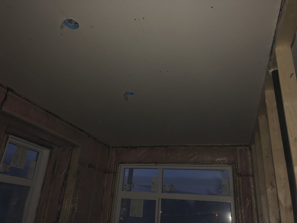Drywall going on the ceiling, a lot of work has gone into the project to date, 96 days to get here.