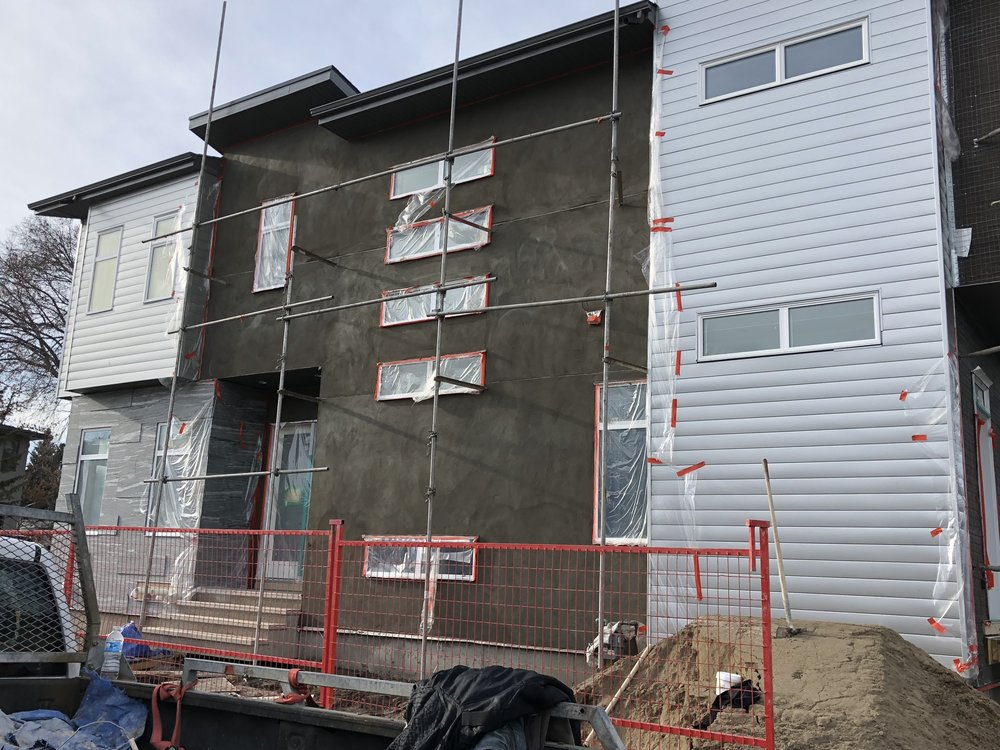 - Semi detached stucco - scratch coat is underway at the Killarney project