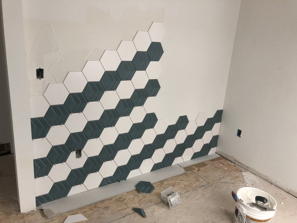 - Live33st.com - interesting hex tile pattern for the dining room feature wall.