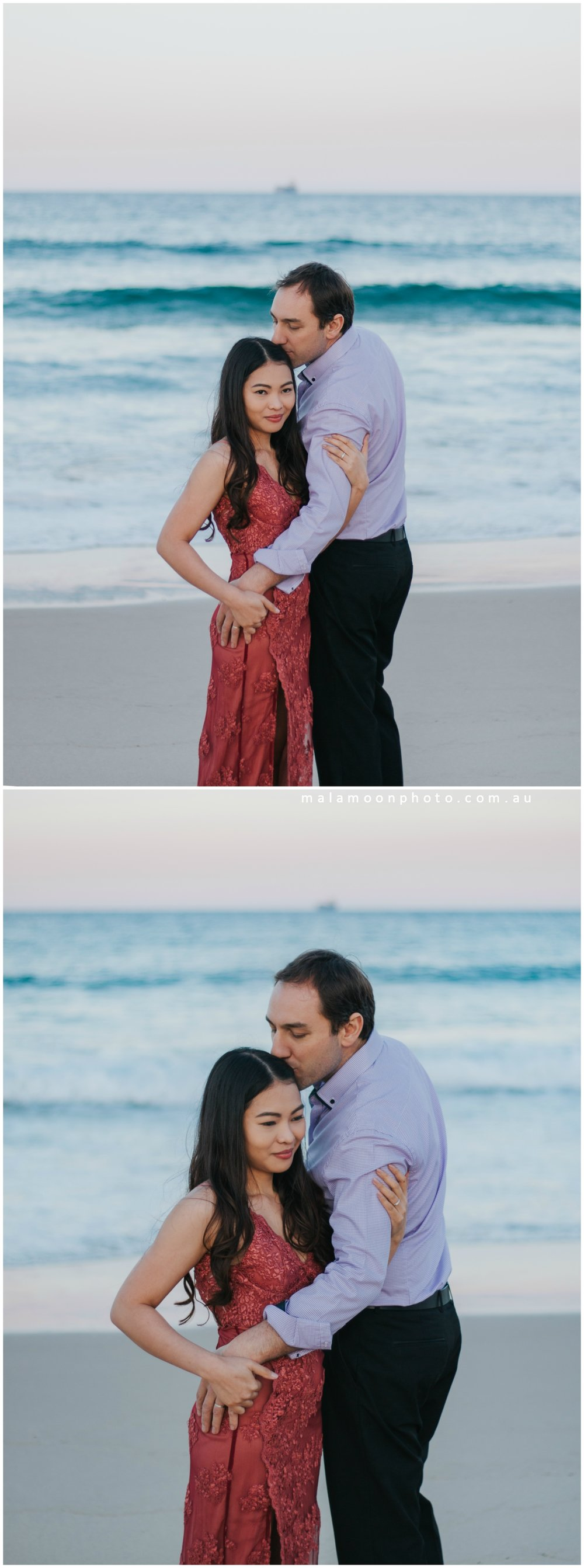 couple photography on beach at sunset