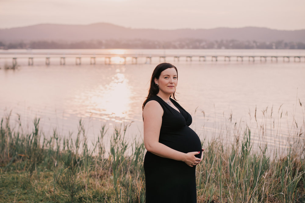 sunset maternity session at long jetty
