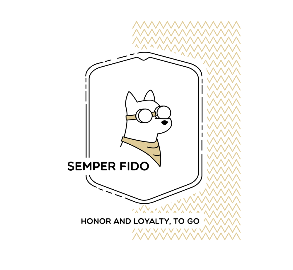 Aesthetically, the logo speaks with a light and friendly tone, but with hints of the militaristic roots of the company, like the dog-tag frame. Which is great because, dog .  The loyal canine friend is outfitted in driving goggles and an all purpose handkerchief, showing he himself is ready, on the move, and a part of the mission.