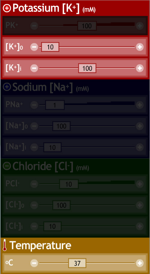Temperature, ion concentrations, and relative permeability can be easily adjust by using sliders.