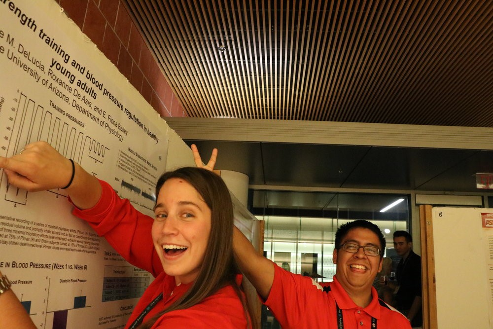 Claire DeLucia and Luis Cruz having some fun during the poster session at the 2016 Annual Meeting.