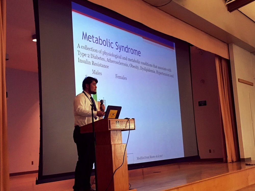 Keane Urashima (graduate student, UofA) presenting his research relating to Metabolic Syndrome.