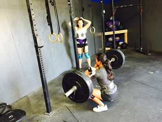"""TUESDAY 12APRIL16  Warm up 800m group run  Skill work 2 RNFT 7 banded Kettle bell swings 5 Goblet squats 30"""" Banded front rack stretch 5 scap pull ups  Strength 25' Speed front squat 8x3 @60%65% (Focus on the controlled downward and explosive coming up with elbows and chest high)  Conditioning 20-15-10 T2b 60-45-30 double under 20-15-10 Strict HSPU   Scales-  L1: toes 2 ring  L2: knees to armpit/elbow  L3: V-ups  L4: ab mat sit ups x2  Double under-  60=20 singles + 5 TNG tuck jump x4 45=20 singles + 5 TNG tuck jump x3 30=20 singles + 5 TNG tuck jump x2   HSPU:  L1: strict with 1 extra ab mat L2: kipping HSPU L3: push up (may not use a band)  L4: box push up  toes 2 bar-  L1: toes 2 ring  L2: knees to armpit/raises  L3: 20=30″ L-hang/sit 15=25"""" L-hang/sit 10=20"""" L-hang/sit L4: V-ups  Weightlifting:  coaches warm up  find a heavy 2 snatch pull with 3"""" pause at the knee + snatch  5x1 @ 75%-80% of snatch complex above  3x10 snatch push press  Tabata hollow rocks"""